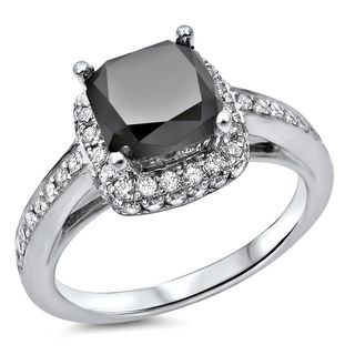 Noori 18k White Gold 2 1/10ct TDW Black Diamond Halo Engagement Ring (G-H,VVS1-VVS2)