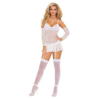 Mesh Polka Dot Babydoll with Lace Cups, Detached Sleeves and G-string