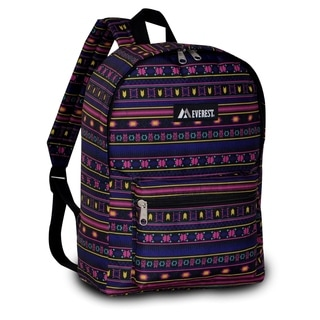 Everest 15-inch Basic Aztec Pattern Backpack with Padded Shoulder Straps