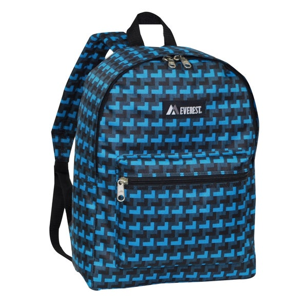 Everest 15-inch Basic Blue and Black Steps Backpack with Padded Shoulder Straps