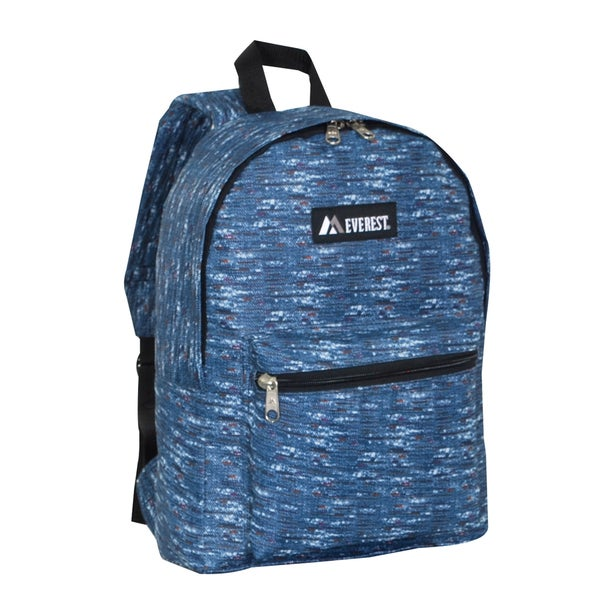 Everest 15-inch Basic Blue Tweed Backpack with Padded Shoulder Straps