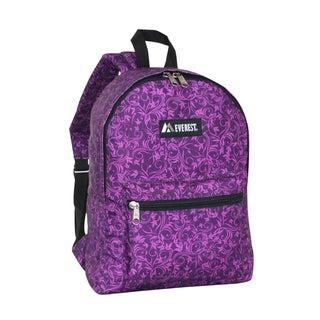 Everest 15-inch Basic Purple Vines Backpack with Padded Shoulder Straps