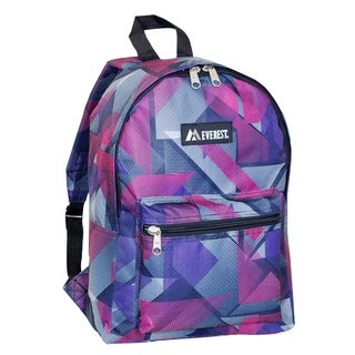 Everest 15-inch Basic Pink Geometric Backpack with Padded Shoulder Straps
