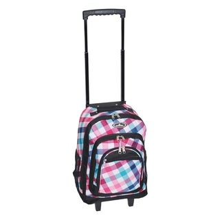 Everest 18-inch Red and Blue Diamond Wheeled Backpack