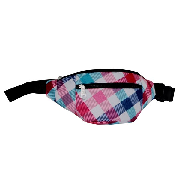 Everest 11.5-inch Blue and Red Plaid Waist Fanny Pack