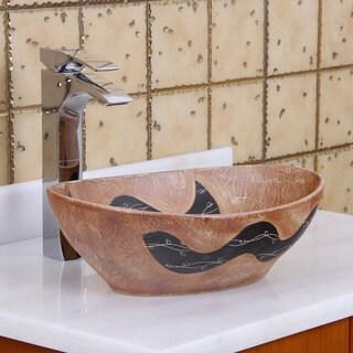 ELITE 1550 Oval Matt Yellow Glaze Porcelain Ceramic Bathroom Vessel Sink