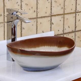Elite 1554 Oval Multicolor Glaze Porcelain Ceramic Bathroom Vessel Sink