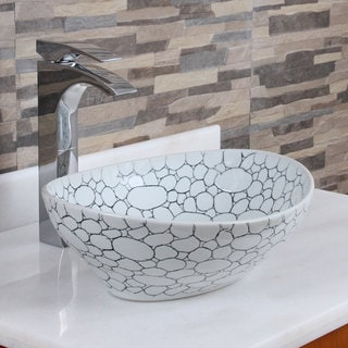 ELITE 1558 Oval Cobblestone Pattern Porcelain Ceramic Bathroom Vessel Sink
