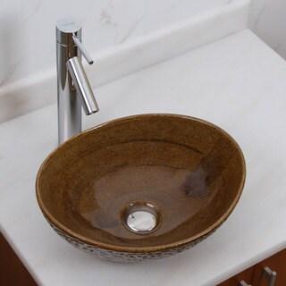 ELITE 1551 2659 Oval Coffee Brown Glaze Porcelain Ceramic Bathroom Vessel Sink With Faucet Combo