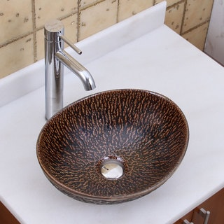 Elite 1552 F371023 Oval Bronze Glaze Porcelain Ceramic Bathroom Vessel Sink With Faucet Combo