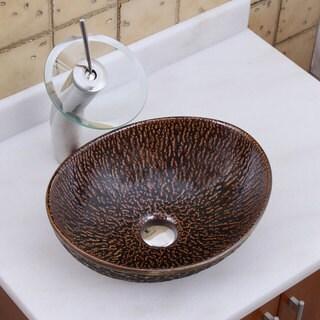 ELITE 1552 F22T Oval Bronze Glaze Porcelain Ceramic Bathroom Vessel Sink Waterfall Faucet Combo