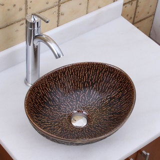Elite 1552 882002 Oval Bronze Glaze Porcelain Ceramic Bathroom Vessel Sink With Faucet Combo