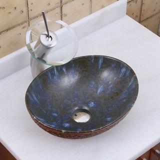 ELITE 1553 F22T Oval Brown Cloud Glaze Porcelain Ceramic Bathroom Vessel Sink Waterfall Faucet Combo