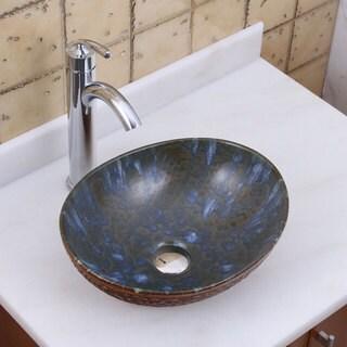 ELITE 1553 882002 Oval Brown Cloud Glaze Porcelain Ceramic Bathroom Vessel Sink With Faucet Combo