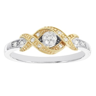 H Star 10k Two-tone White and Yellow Gold 1/10ct TDW Diamond Promise Ring (H-I, I1-I2)