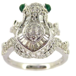 Kabella 14l White Gold 1 1/6ct TDW Diamond Emerald Accent Frog Design Ring (F-G, SI1-SI2) (Size 6.5)