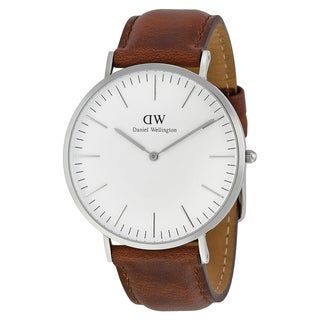 Daniel Wellington Men's 0207DW Classic St Mawes Round Brown Leather Strap Watch