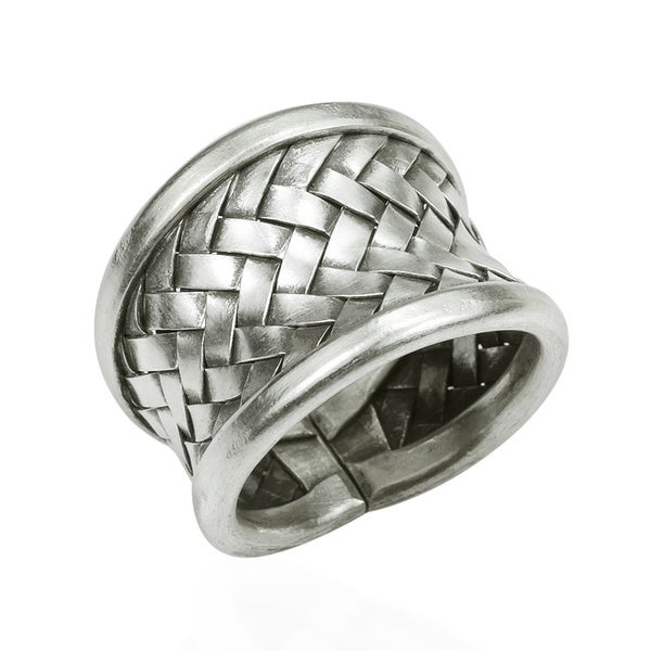 Handmade Woven Braided Weave Wide Front Design Silver Ring (Thailand)