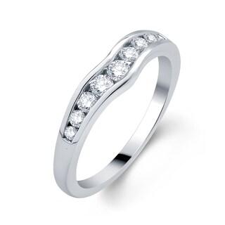 18k White Gold 1/3ct TDW Diamond Contour Wedding Band (H-I, I1-I2)