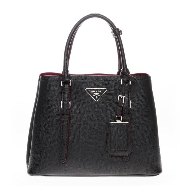 prada purse red - Prada Saffiano Cuir Covered-Strap Double Handbag Black - 17521479 ...
