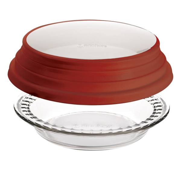 Anchor Hocking 9.5-inch Deep Pie with Red Cover 15976235