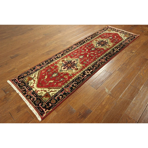 Persian Heriz Hand-knotted Wool Serapi Red With Black Bored Rug (3' x 8')