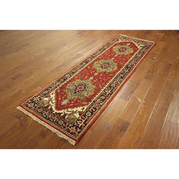 Love Red Heriz Antiqued Hand-knotted Serapi Wool Oriental Rug (3' x 8')