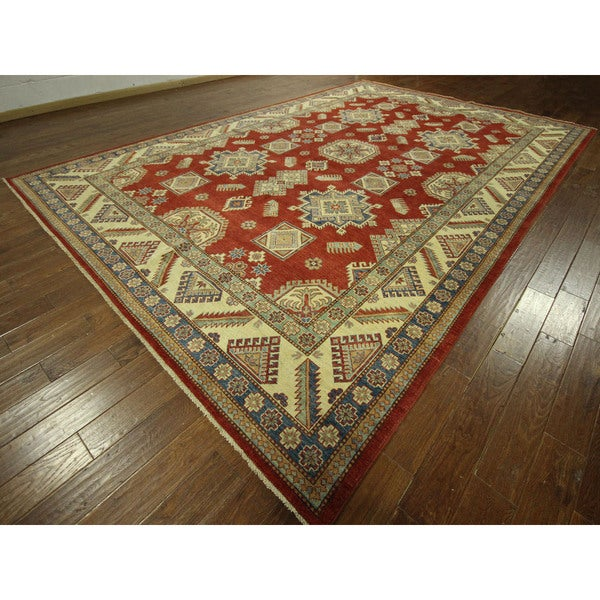 Traditional Palace Size Hand-knotted Red Super Kazak Wool Area Rug (10' x 14')