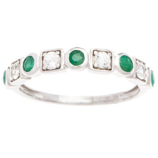 Viducci 10k Gold Emerald and White Sapphire Vintage-style Band