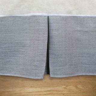 Burlap Ash Grey 14-inch Drop Pleated Queen Bed Skirt