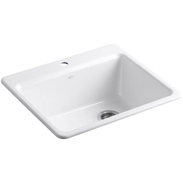Top Mount Apron Sink White : ... Top-mount Cast Iron 25 inch 1-hole Single Bowl Kitchen Sink in White