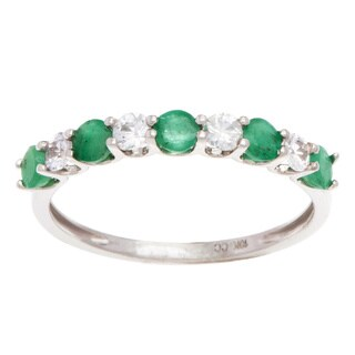 Viducci 10k Gold Emerald and White Sapphire Band