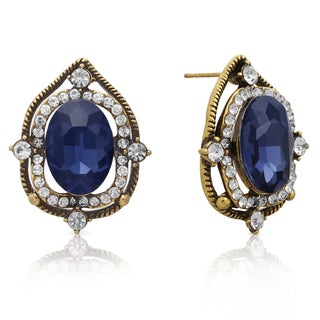 Ornate Blue Sapphire Halo Stud Earrings, Gold Overlay, Pushbacks