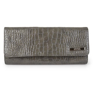 Kenneth Cole Reaction Women's Croc Print Trifold Elongated Clutch Wallet