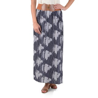 Journee Collection Women's Pleated Printed Maxi Skirt