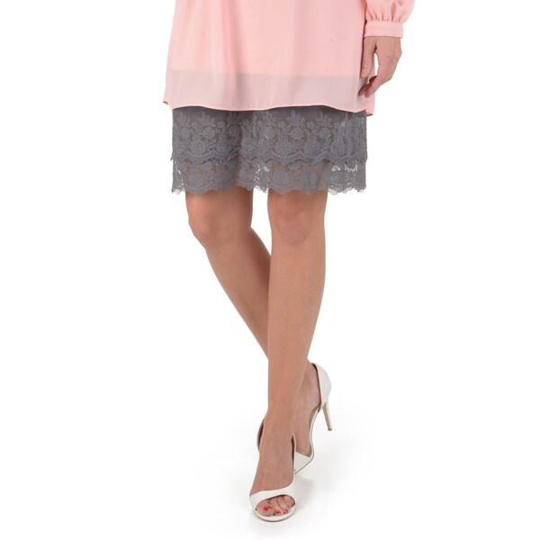 Timeless by Journee Women's Knee Length Lace Bottom Half Slip Skirt Extender