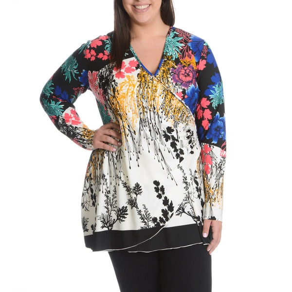 La Cera Women's Plus Size Multi Floral Print Surplice Wrap Top