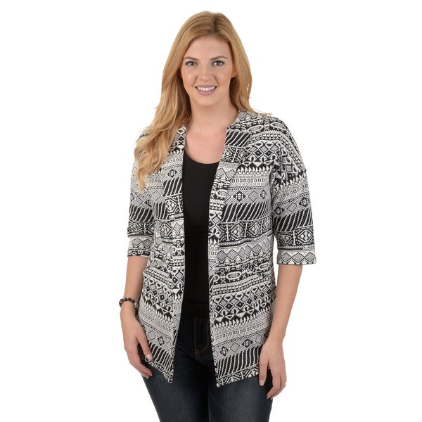 Journee Collection Women's Printed Short-sleeve Blazer Jacket