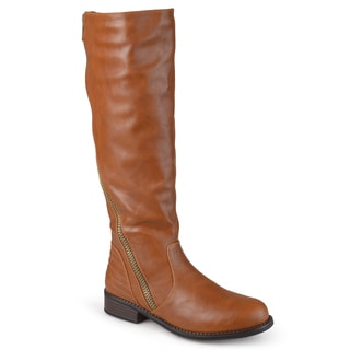 Journee Collection Women's 'Slant' Regular and Wide-calf Faux Leather Boots