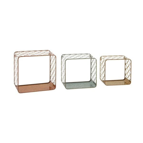 Decorative Metal Wall Shelves (Set of 3)