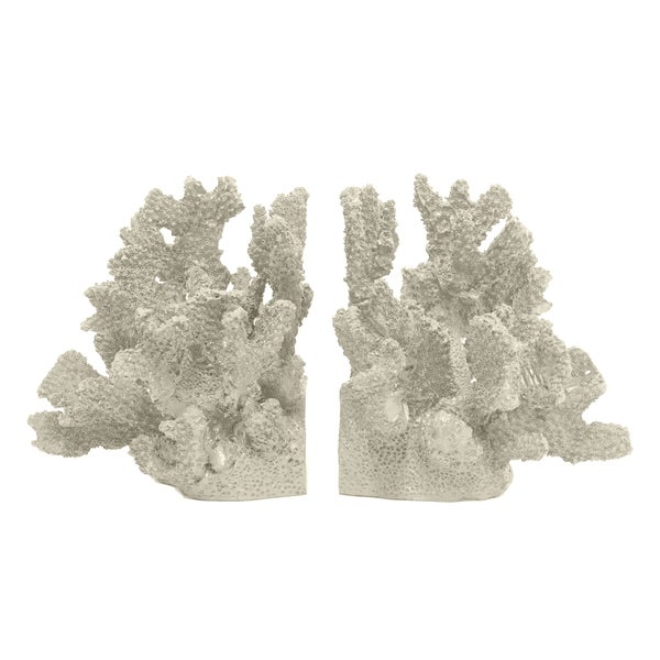 Decorative Ivory Resin Coral Bookend (Set of 2) 15977592