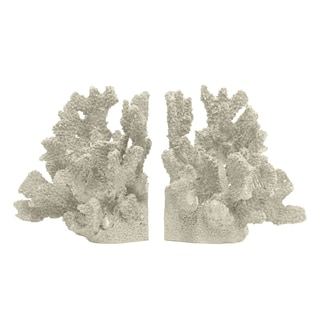 Decorative Ivory Resin Coral Bookend (Set of 2)