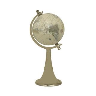 Decorative Antiqued Brass and Beige Globe