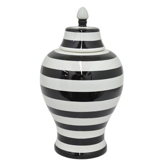 Decorative Black/ White Ceramic Urn