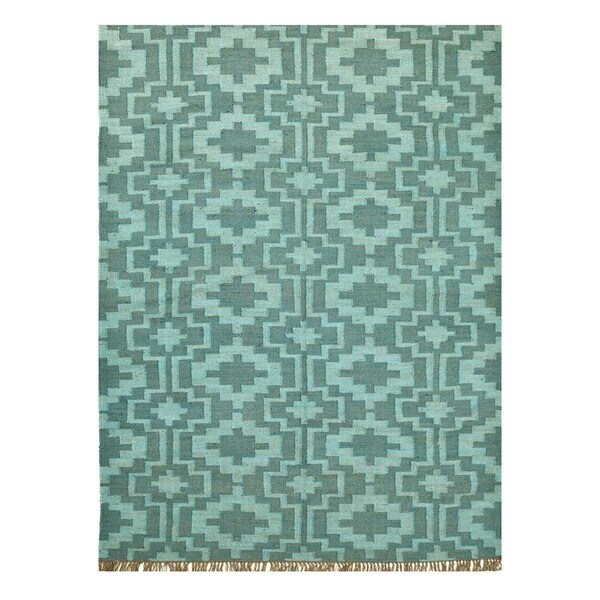Flatweave Casual Peacock Blue/Faded Teal Jute (5x8) Area Rug