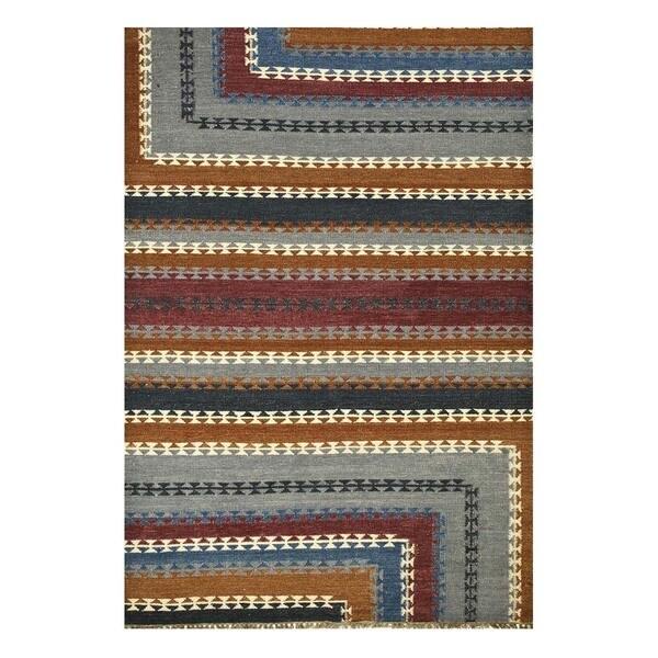 Flatweave Casual Smoke Blue/Denim Blue Wool (5x8) Area Rug