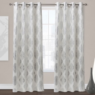 Augustus Off-white Grommet Top 84-inch Curtain Panel Pair