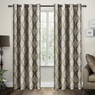 Damask Grommet Top Curtain Panel Pair