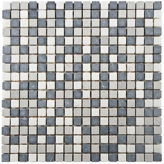 SomerTile 12x12-inch Griselda Mini Charcoal Natural Stone Mosaic Wall Tile (Case of 10)