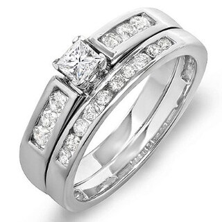 14k White Gold 5/8ct TDW Princess and Round Diamond Bridal Ring Set (H-I, I1-I2)